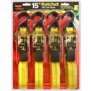 Tie Down 1x15ft Ratchet 4pk